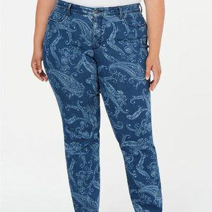 Charter Club Plus Size Printed Straight Leg Jeans